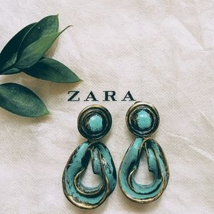 Zara Metal Turquoise Earrings